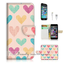 ( For iPhone 8 ) Wallet Case Cover P1497 Love Heart