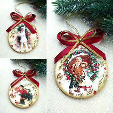 3 Pcs Christmas Tree Navidad Hanging Ornament Home Decor Handmade Vintage Style