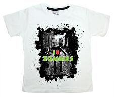 "Boy's Zombie T-Shirt ""I Heart Zombies"" Funny Tee Clothes Gift"