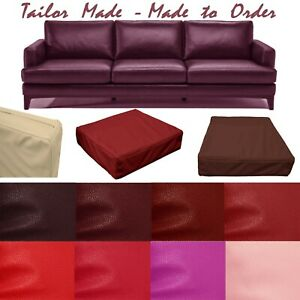 Tailor Made*Cover Only*Faux Leather Skin Box Square Sofa Seat Bench Cushion Pb5