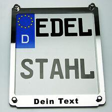 Kennzeichenrahmen Motorrad Kennzeichenhalter Edelstahl mit Wunschtext 18x20cm