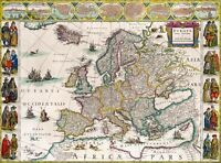 "Vintage illustrated Europe Map CANVAS PRINT  16""X12"""