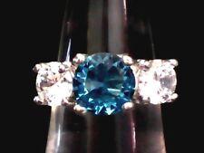 """Brilliant Blue"" Topaz & Austrian Crystals Mounted .925 Sterling Silver Sz. 9"