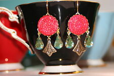 Vintage Red reflector glass peridot ab crystal Art Nouveau artisan earrings