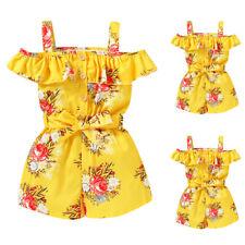 Kid Girl Summer Floral Mini Jumpsuit Cold Shoulder Romper Shorts Casual Playsuit