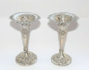 ANTIQUE OTTOMAN EASTERN ASIAN SOLID SILVER PAIRVASE OF VASES, FLOWER VASE, c1915