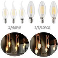 1/5/10x E14 Retro Bulb Candle LED Filament Light Globe Lamp 2/4/6W Energy Saving
