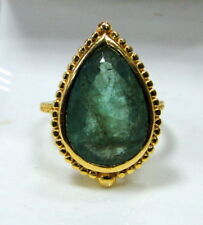 vintage 18 K solid gold natural Emerald ring jewelry large pear shape Emerald