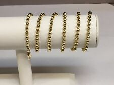 """14k Yellow Gold BEAD BALL Link Pendant Chain Necklace 4 mm 26"""" 34 grams  BD4N"""
