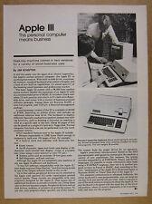 1980 Apple III 3 Computer 1 page print article