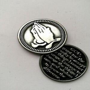 Serenity Prayer VERSE POCKET TOKEN COIN Keepsake Praying Hands METAL 3.5cm SOLID