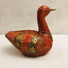 Vintage Wooden Duck Handmade With Brass/Copper Decorations 6.5�