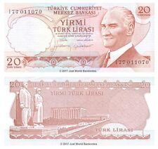 Turkey 20 Lira 1974 P-187b Brown Signature Banknotes UNC