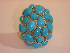 MICHAEL DAWKINS STERLING SLEEPING BEAUTY TURQUOISE CLUSTER RING NEW 6