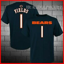 Rare! Chicago Bears Justin Fields Navy Mainliner Name & Number T-Shirt S-3Xl