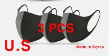 3 PCS Washable Face Mask Reusable, Black Fashion mask  Large size