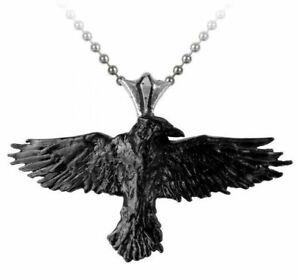 Alchemy England - Black Raven Pendant Necklace, Bird, Punk Gothic Witch Emo Gift
