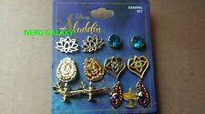 Disney ALADDIN Six Pair Earrings Set! LICENSED! NEW! FREE SHIPPING! Blue & Gold