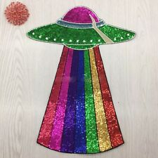 Large Rainbow UFO Planet Fashion Sequin Embroidered Applique Iron On Patch