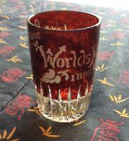 VTG ANTIQUE Etched Ruby Flash Glass EAPG Souvenir of CHICAGO WORLDS FAIR 1893