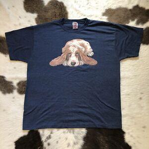 Vintage 90s Basset Hound T Shirt Mens Size XL Navy Blue FOTL Cotton Dog VTG