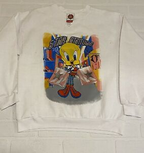 YOUTH Tweety Bird Star Attitude Shopping Sweatshirt sz XL White Mickeys Stuff