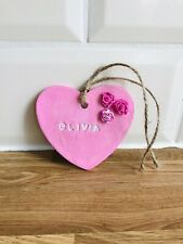 personalised name plaque Clay Gift Baby Heart