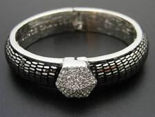 $68 Vince Camuto Puffy Pave Rhinestone Hinged Leather Bangle Bracelet Silvertone