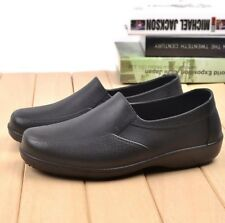Mens Waterproof Oil Proof Restaurant Slip On Work Loafers Cmofortable Chef Shoes