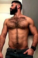 Shirtless Male Muscular Beefcake Masculine Hairy Chest Abs Beard PHOTO 4X6 F1508