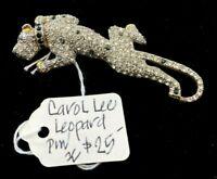 Carol Lee Brooch Pin VTG Crystals Rhinestone Leopard Cat Gold Tone Charity DS29
