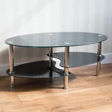 Cara Coffee Table Black Oval Shelves Glass Modern Steel Legs By Home Discount