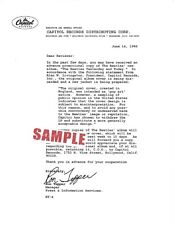 The Beatles Butcher Cover Recall Letter, Black & White, Capitol Records 1966