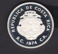 Republic of Coasta Rica Proof 1974 silver 50 Colones coins VERY NICE