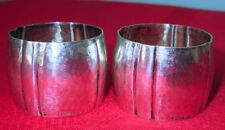 Wilhelm Müller Arts & Crafts Period German 800 Silver Napkin Rings, Pair, 1890s