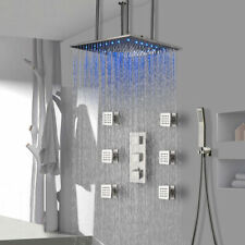 Termostática 20 pulgadas LED grifo de la Ducha de Lluvia Sistema De Masaje Mezclador níquel cepillado