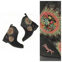 Desigual Women's Ankle Boots Black Suede Embroidered Floral Mandala Sz 8.5 9 39