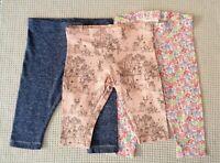 NEXT Baby Girls 3 Pair Plain & Multi Floral & Character Leggings 3-6 months