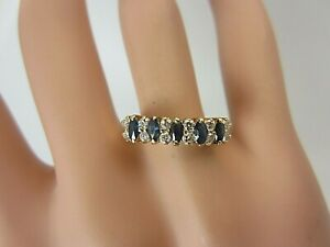 14k Yellow Gold 0.55 carat Blue Sapphire Diamond Ring Wedding Band 0.79 CT TW