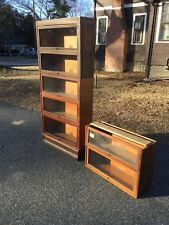 Antique Globe Wernicke 9 Part 7 Sectional Lawyer Barrister Stacking Oak Bookcase