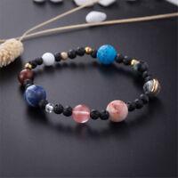 Frauen Weave Armband Galaxy Solar System Acht Planeten Thema Natursteinperlen