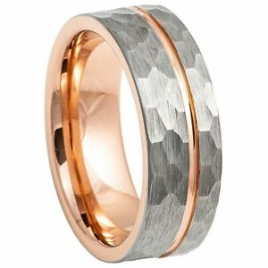 Tungsten Band Ring Grooved Hammered Finish & Rose Gold IP Plated Inside 8mm