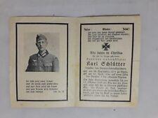Sterbebild Sanitätsunteroffizier Obituary April 1944 Hohe Death Notice