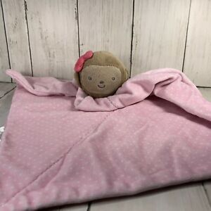 Carters Just One You Girl Monkey Rattle Security Blanket Lovey Pink Polka Dot