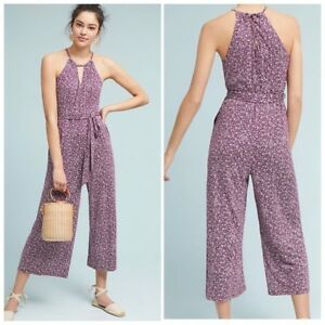NEW ANTHROPOLOGIE Women's MAEVE Claremont Purple JUMPSUIT Size Large