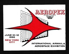 75782) Pegatina Label sticker FISA aeropex New York Estados Unidos 1966, 53 x 37mm