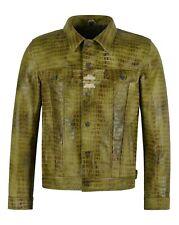 Leather TRUCKER JACKET Vintage Olive Exotic Croc Print Leather 70's Shirt Jacket