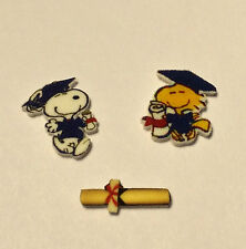 3 SNOOPY WOODSTOCK FLOATING LOCKET CHARMS GRADUATION DIPLOMA CHARM CHARLIE BROWN