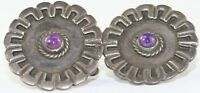 VTG TAXCO MEXICAN 980 STERLING SILVER AMETHYST EARRINGS MEXICO LA CUCARACHA