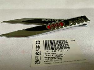 2 Audi Badge Black Fender Side Wing Metal Sticker Emblem A1 A3 A4 A5 A6 A7 A8